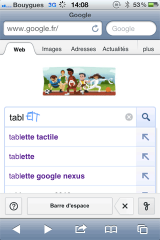 Google manuscrit sur iphone