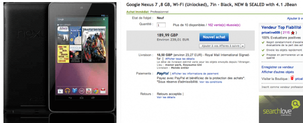 Importation de la nexus 7 via Ebay