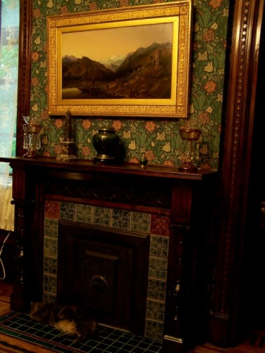 Greene St. Brownstone-Fireplace stripped, refinished and retiled with salvaged, historically correct tiles.