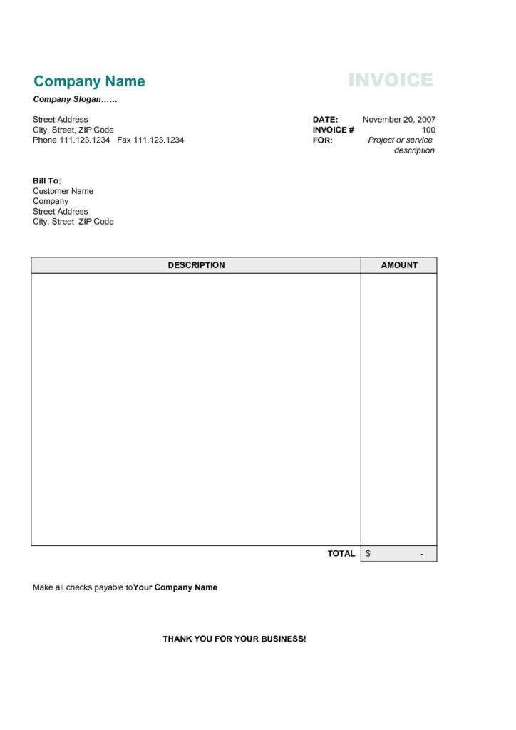 Commercial Invoice Template Free Download and Simple Invoice