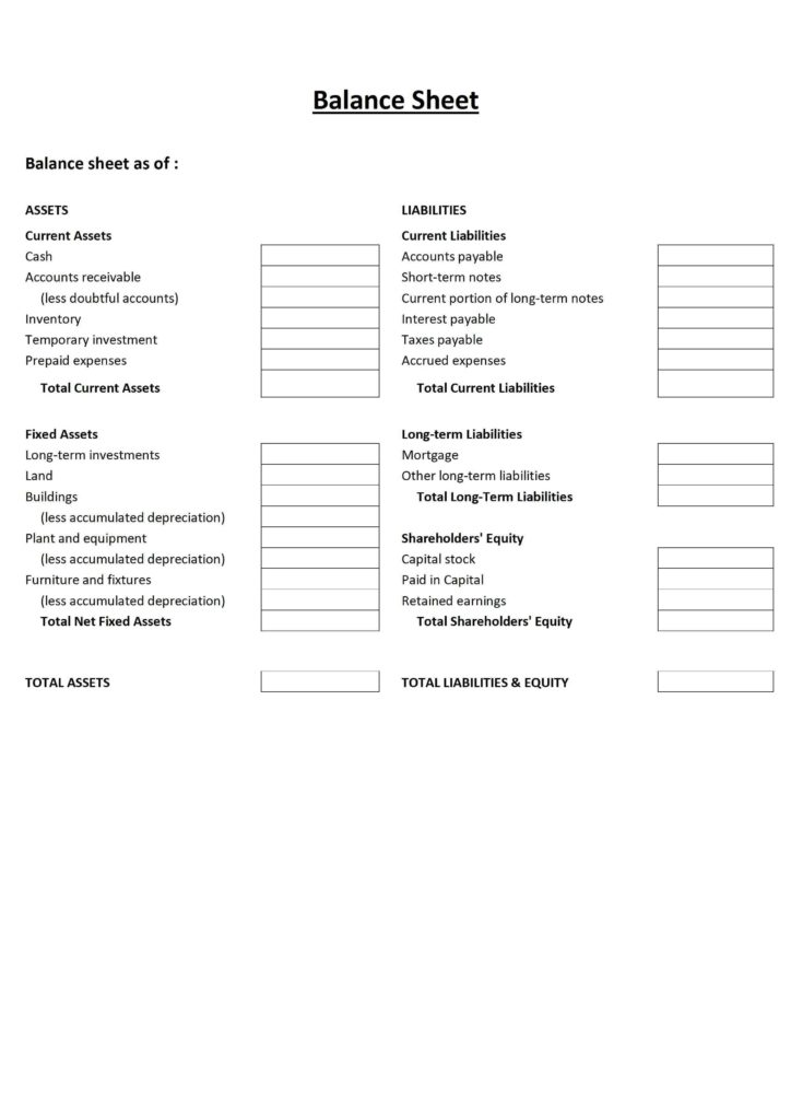 Consolidated Financial Statement Template and Free Printable Balance