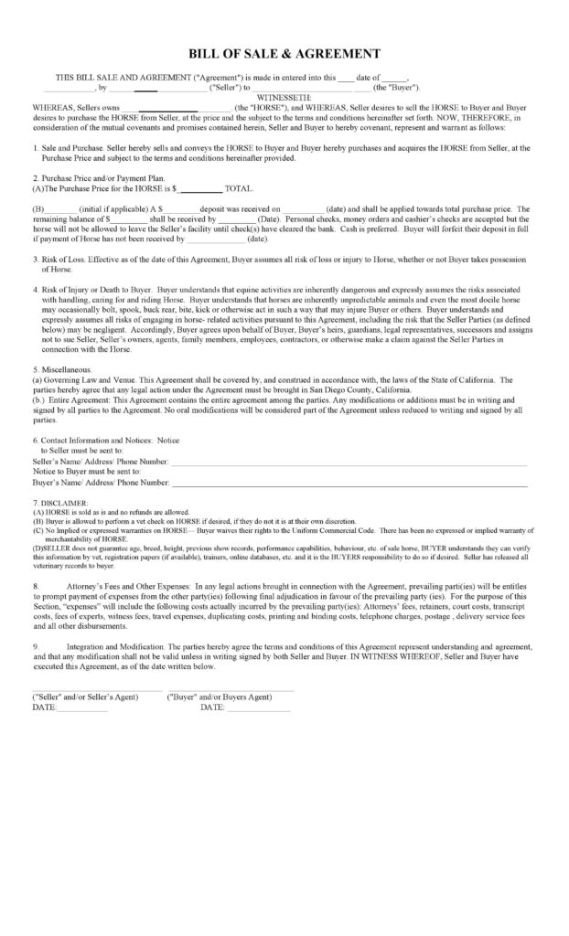 Horse Bill Of Sale Template and Free California Horse Bill Of Sale