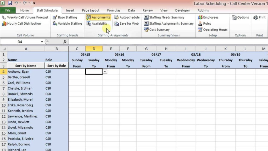 Monthly Employee Work Schedule Template Excel and Labor Scheduling