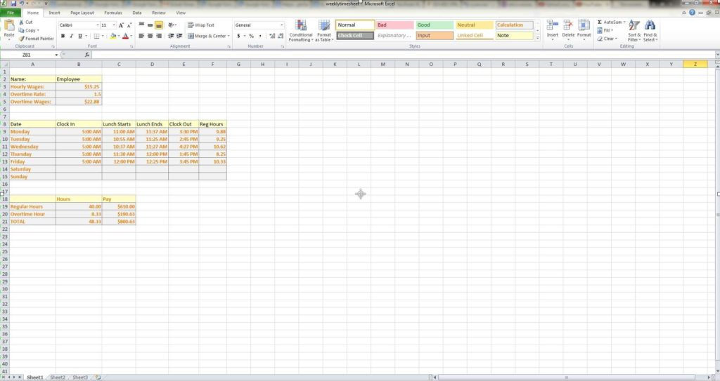 Payroll Report Template Excel and How to Make A Weekly Timesheet