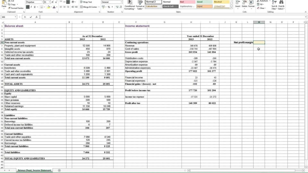 Profit and Loss Statement Sample Free and Profit Loss Spreadsheet