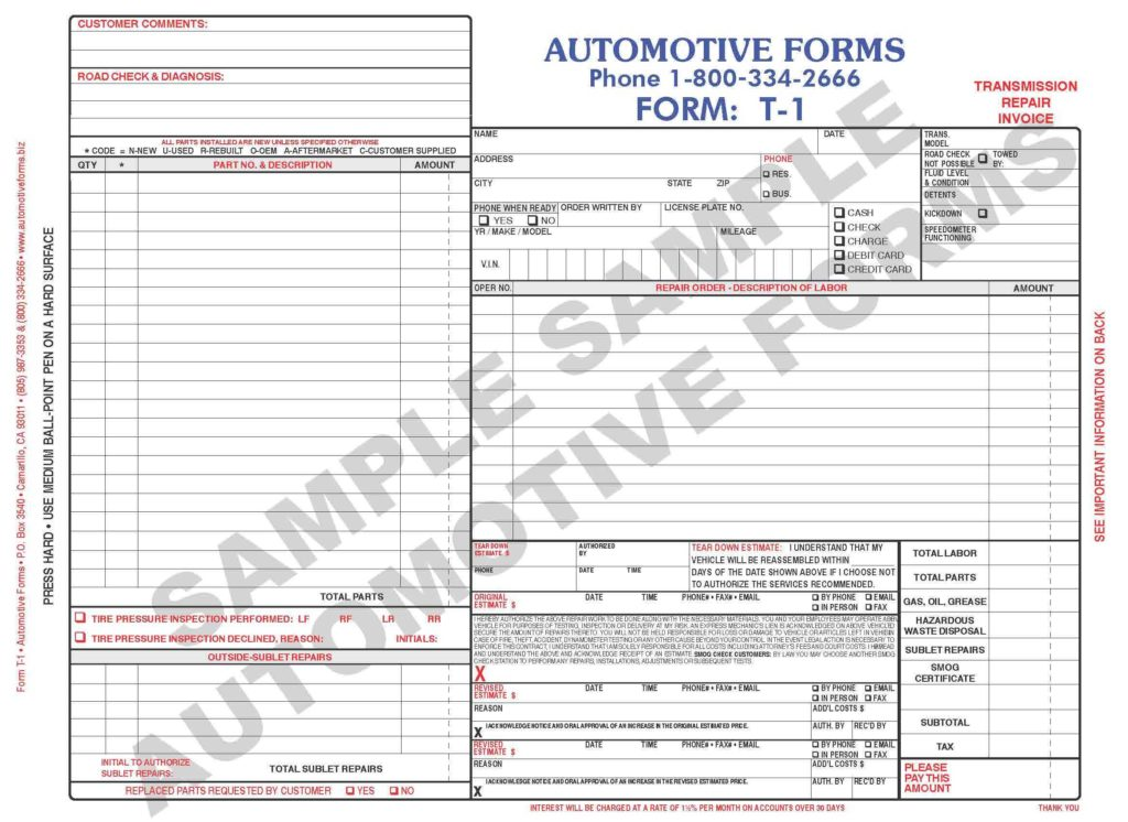Repair Shop Invoice Template - Tagua Spreadsheet Sample Collection