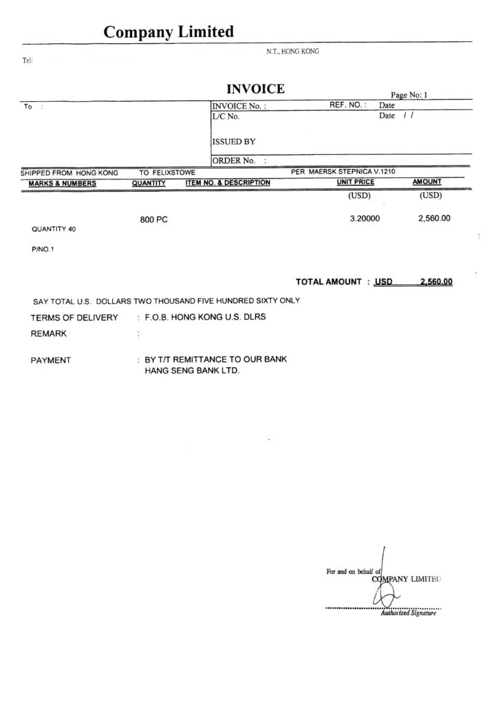 Sample Of A Commercial Invoice - Tagua Spreadsheet Sample Collection