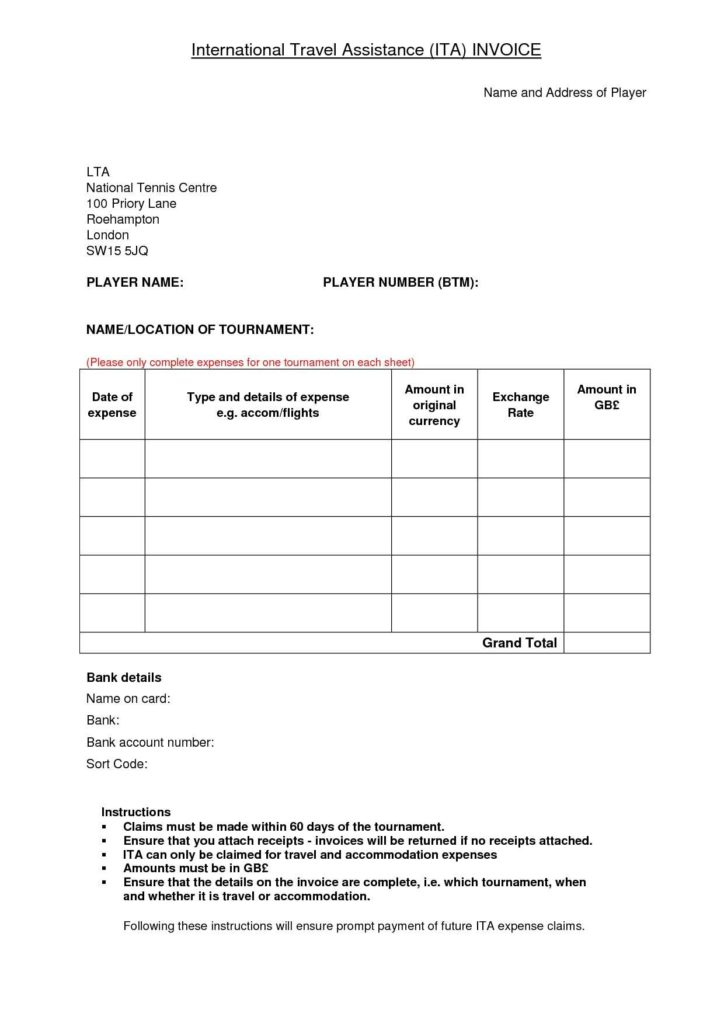 Travel Bill Template - Tagua Spreadsheet Sample Collection