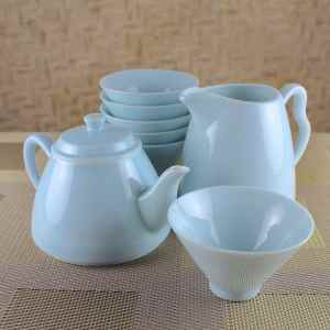 Fine-striped Milky Blue Tea Set for 6 Guests