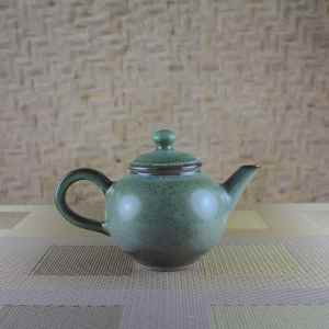 Small Moondust Green Teapot Side View