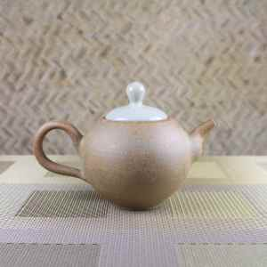 Pumice Clay with Craquelure Lid Smaller Teapot Side View
