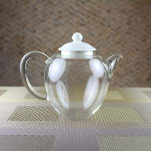 Glass teapot with Ivory Porcelain Lid Side View