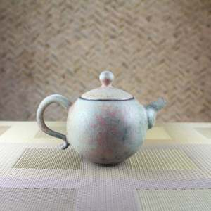 Moondust Grey Smaller Round Teapot Side View