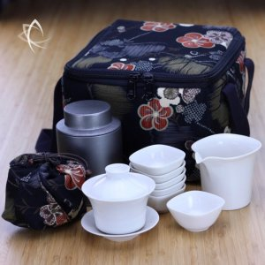 Classic Gaiwan, Pitcher, Cups and Tea Tin Set with Insulated Square Tea Travel Tote Pack