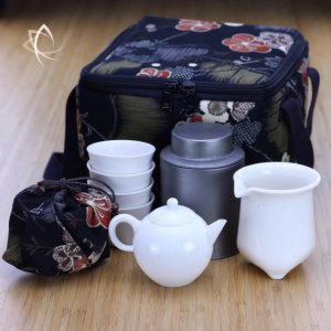 Moon Gongfu Teapot, Pitcher, Cups and Tin Set with Insulated Square Tea Travel Tote Pack