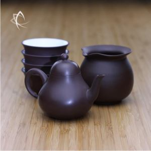 Small Pear Shaped Purple Clay Teapot Pitcher and Cups Set