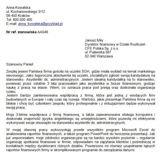 list motywacyjny Asystentka ds Administracyjnych - przykład