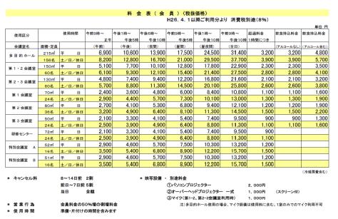 ◆会員料金表
