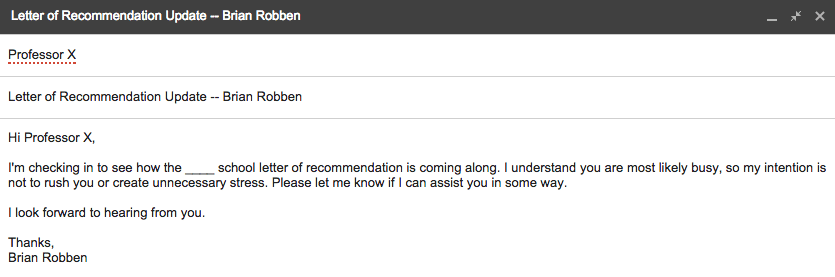 how to remind a professor about a recommendation letter