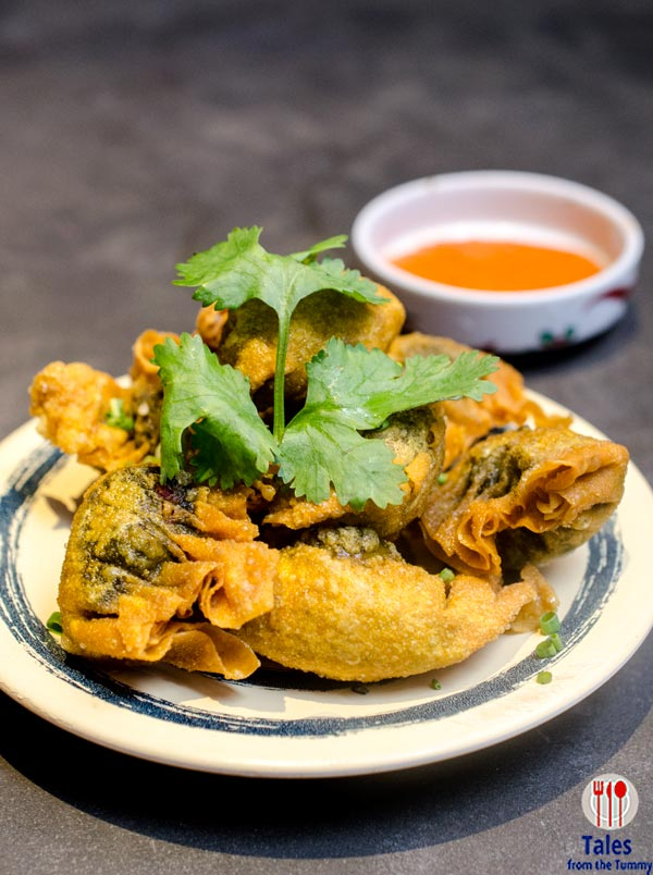 Green Curry Chicken Potstickers (P300), served with a sambal peanut ...