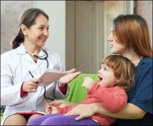 Nurse with parent & child