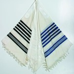 Wool Tallit with blue stripes