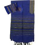 Gabrieli Tallit - royal blue and gold stripes