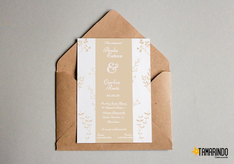 Plantillas invitaciones de boda para imprimir Tamarindo Comunicación