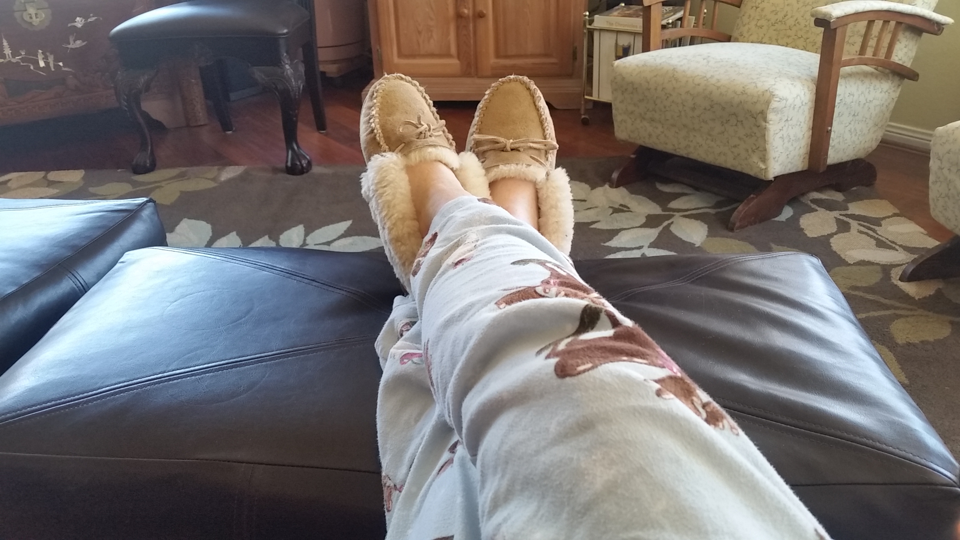 Still wearing pajamas and slippers at three in the afternoon.