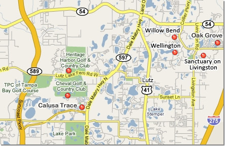 Map of communities in Lutz Florida