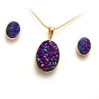 Drusy quartz, yellow gold pendant and earring set
