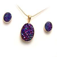 Drusy quartz, yellow gold pendant and earring set | TamRon ...