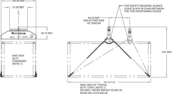 Q2500aa 299 Load Leveling Bottom Lift Sling For 2039 Iso