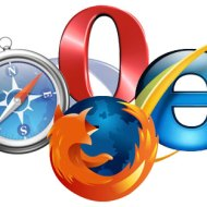Opera, IE7, Firefox and Safari logos