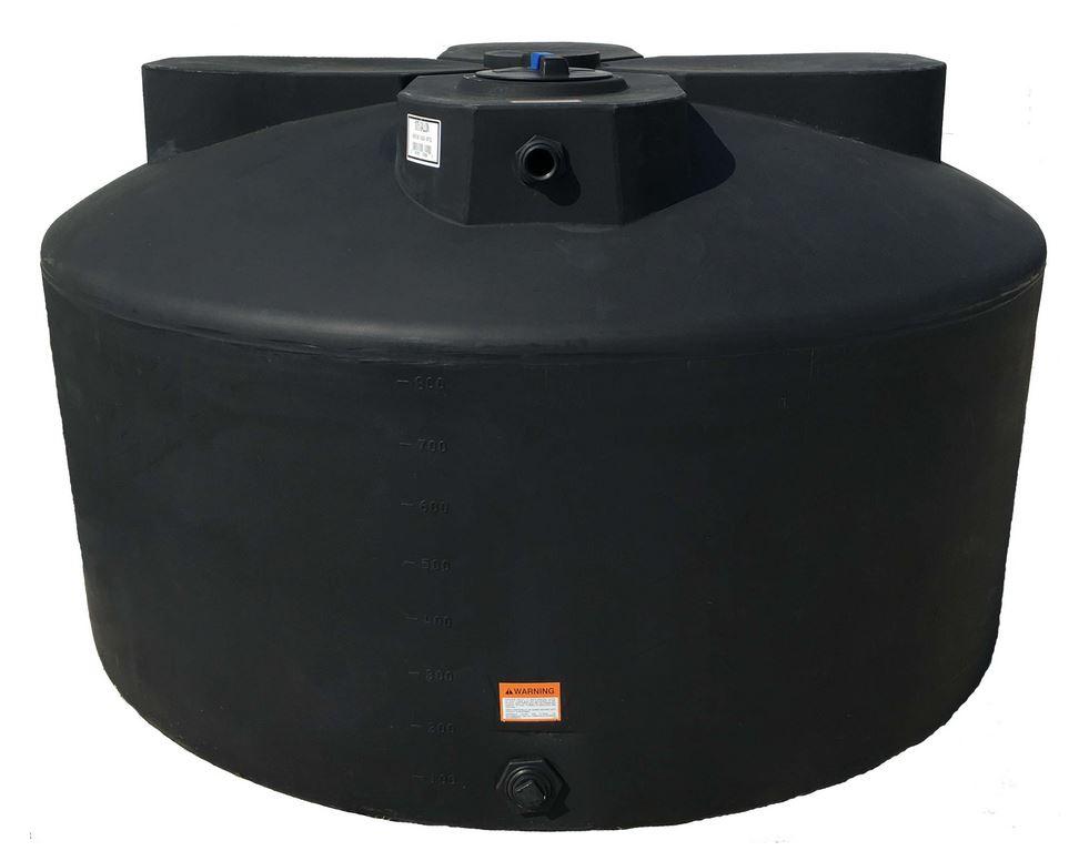 Norwesco Vertical Water Storage Tank Black 1075 Gallon
