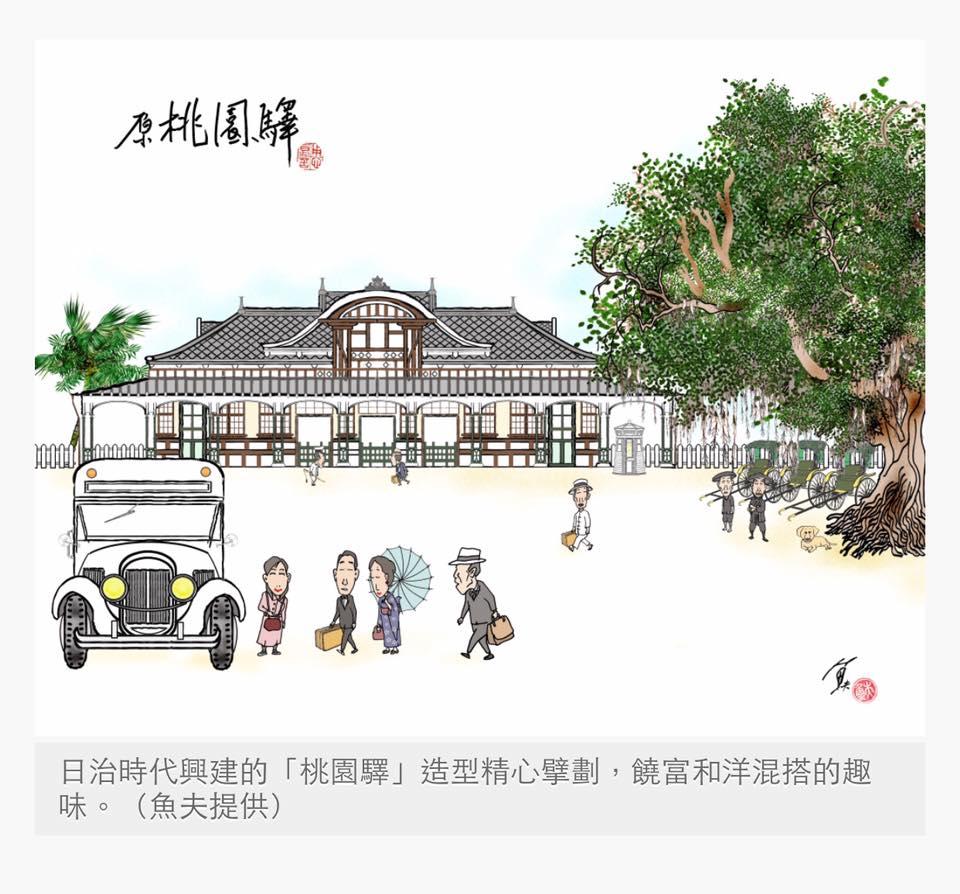 時政漫畫家漁夫繪筆下的日治桃園驛//圖擷取自報雜誌