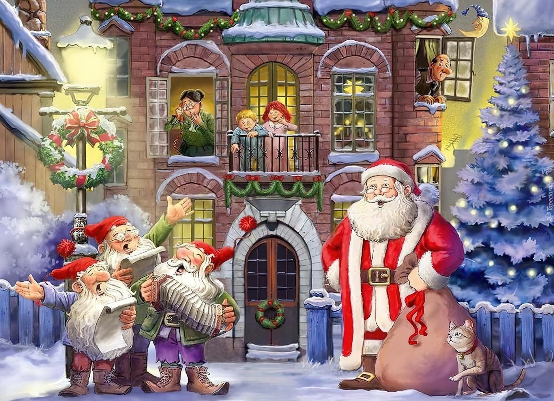 Animated Christmas Tree Wallpaper Mikołaj Krasnale Boże Narodzenie Malarstwo