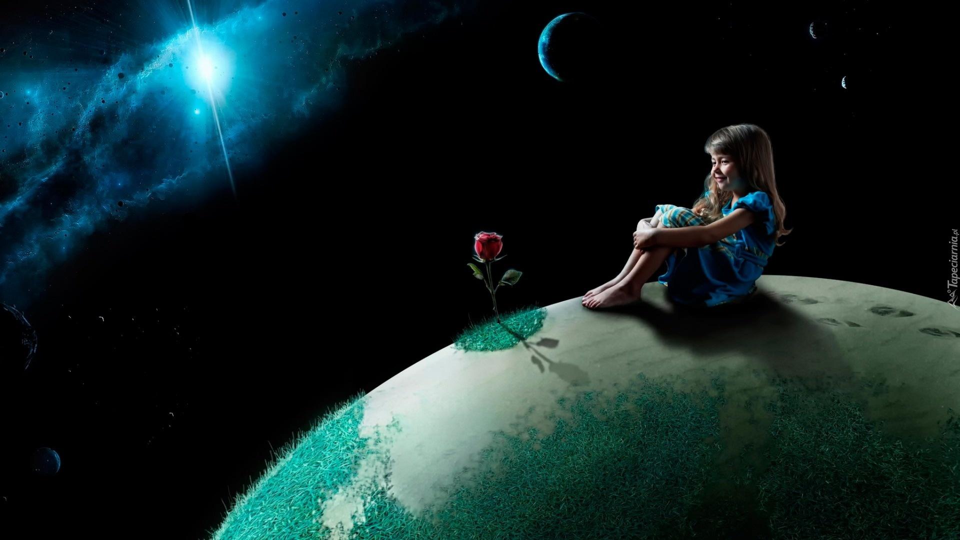 Sunrise 3d Wallpaper Fantasy Kosmos Planety Dziewczynka R 243 ża