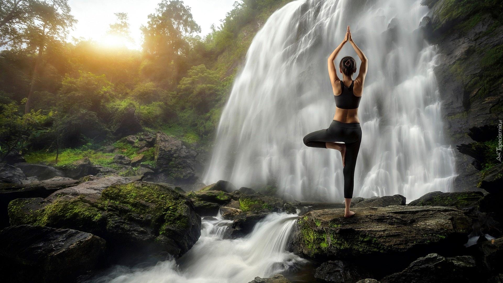 Meditation Girl Wallpaper Wodospad Kamienie Kobieta Ćwiczenia Joga