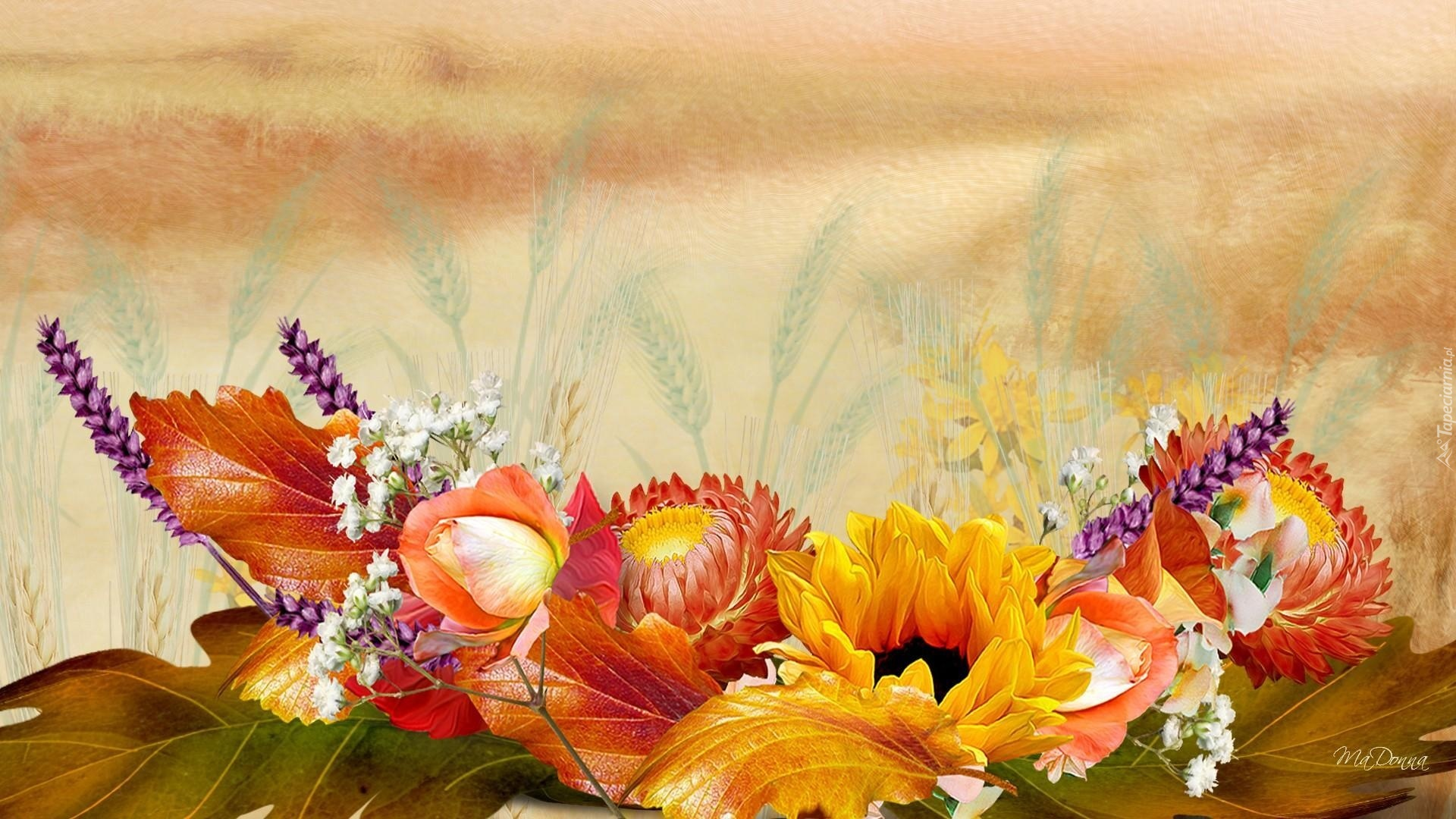 Fall Flowers Wallpaper Desktop Grafika Jesienne Kwiaty