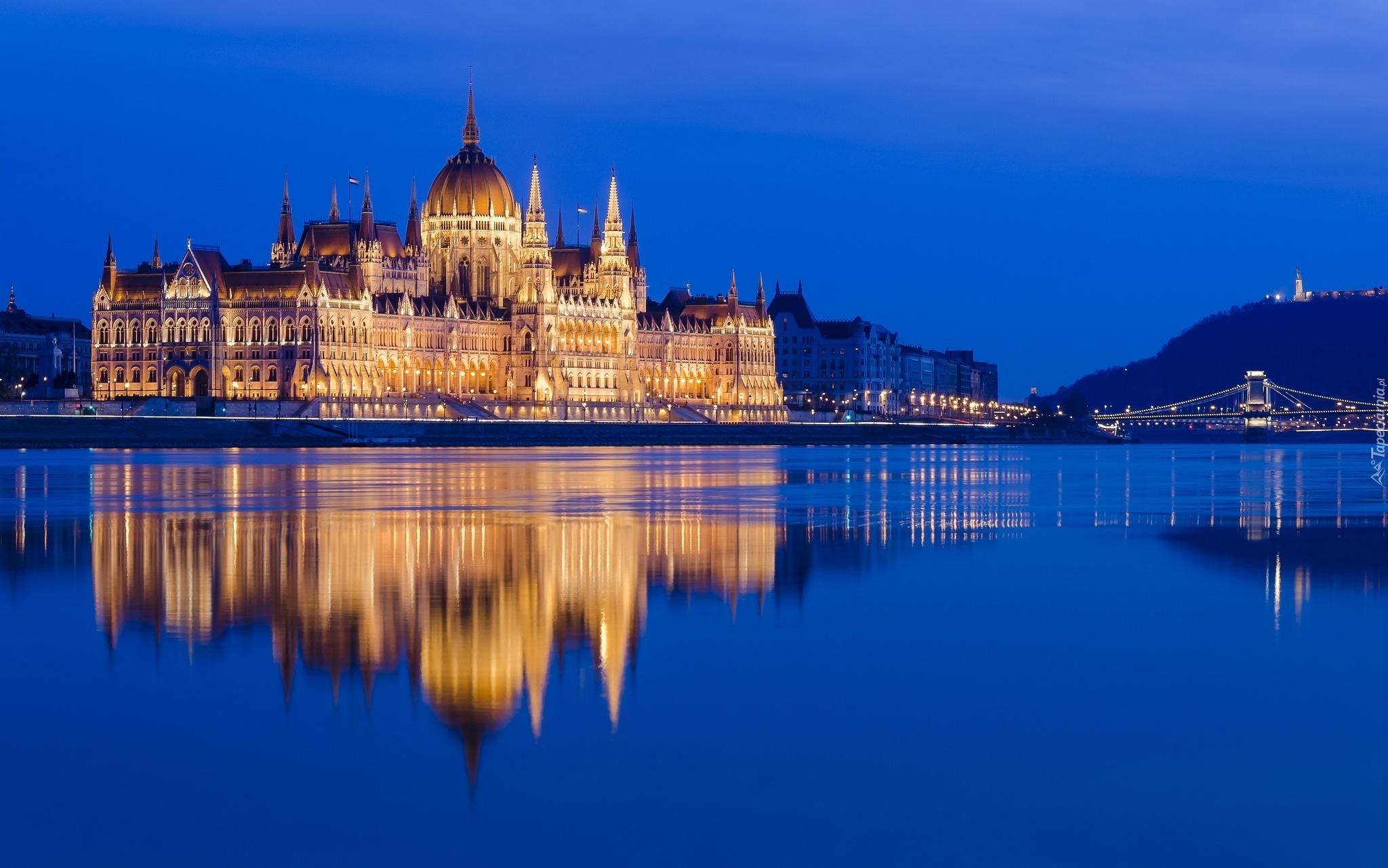 Hd Puzzle Wallpaper Węgry Budapeszt Pałac Rzeka Odbicie Miasto Nocą