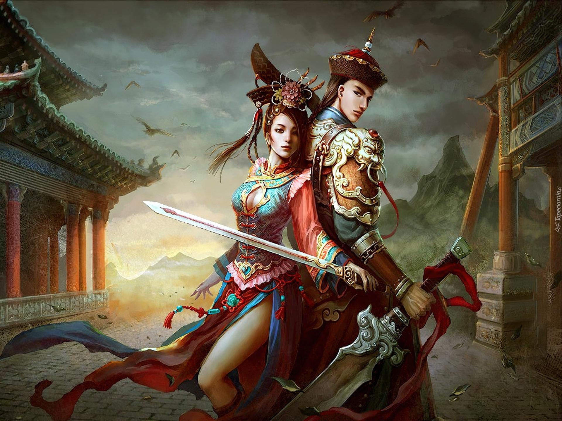 Beautiful Chinese Girl Paintings Widescreen Wallpaper Dziewczyna Chłopiec Stroje Ludowe