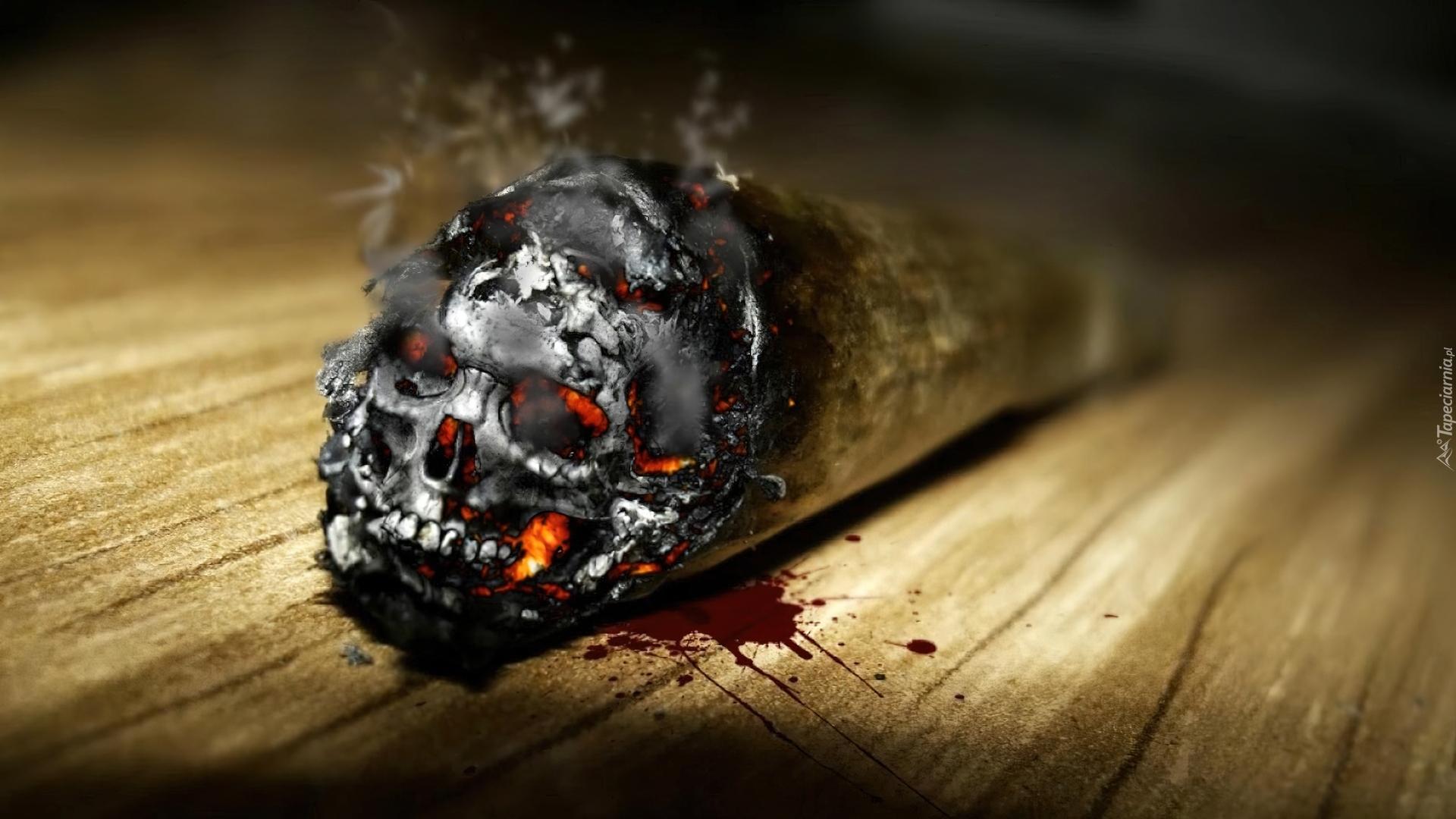 Smoking 3d Wallpaper Przypalony Papieros Czaszka Krew