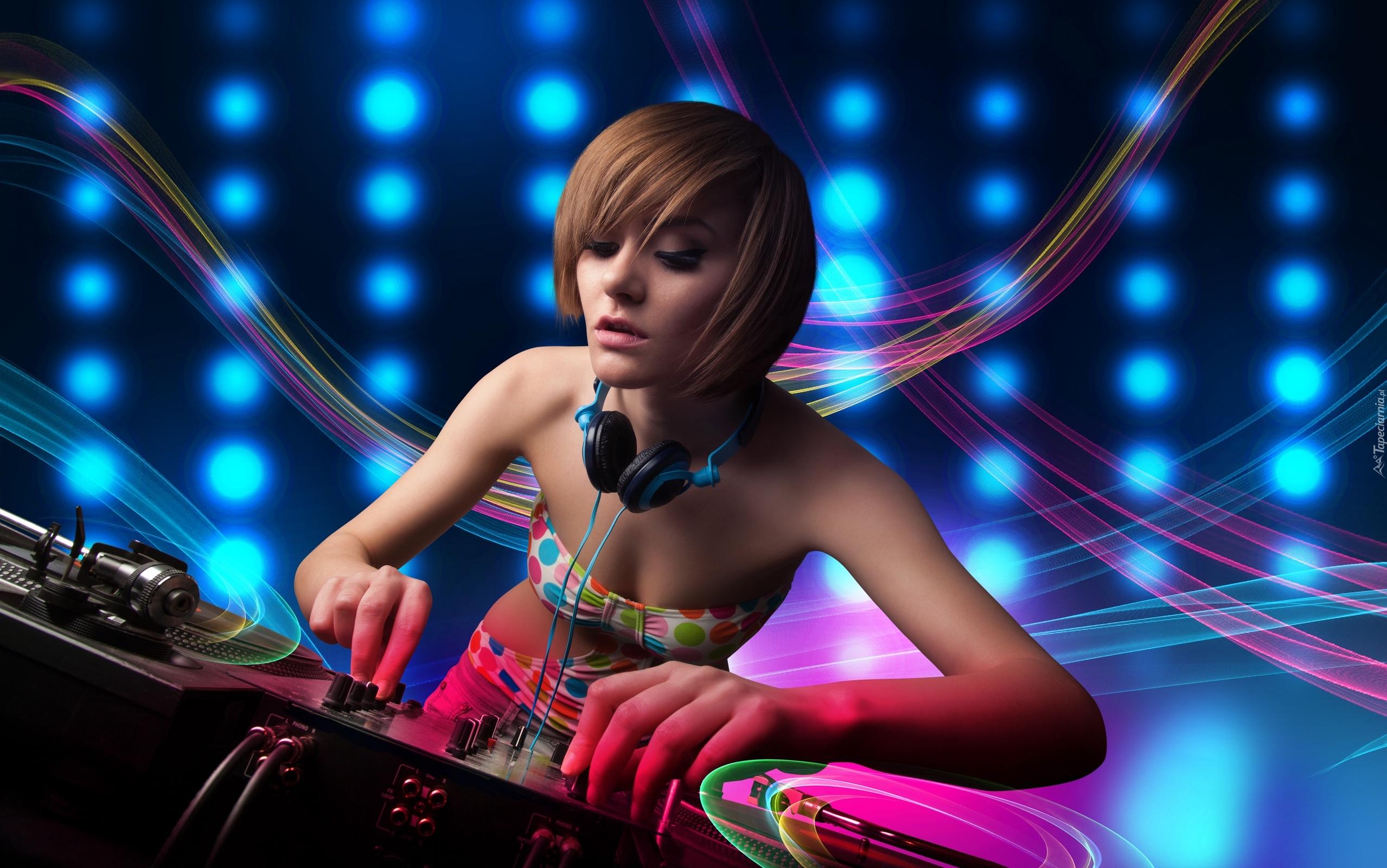 Electro Wallpaper Girl Tapety Disc Jockey Dj Didżeje