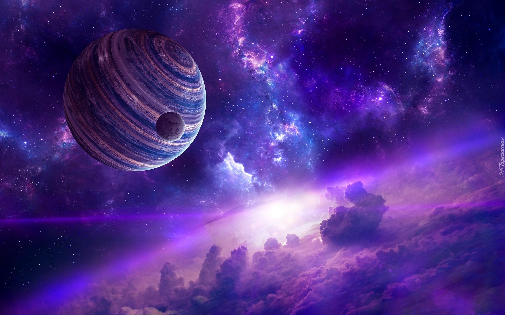 3d Wallpaper Planety I Chmury W Grafice 3d