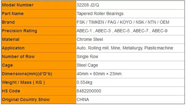 32208 J2/Q Tapered Roller Bearings Size Chart Conical Circular Cone