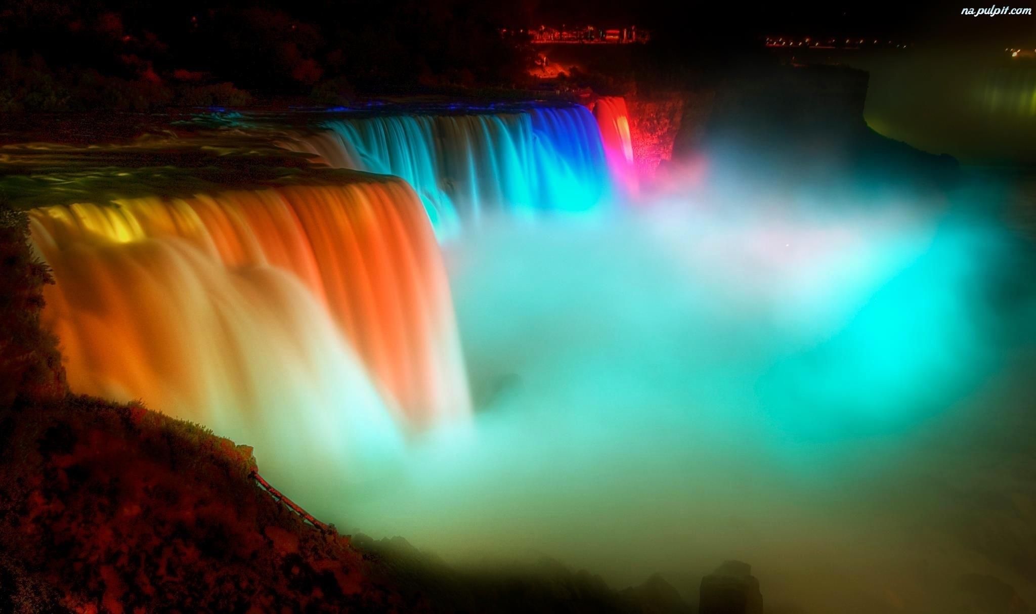 Iguazu Falls Wallpaper 1920x1200 Iluminacje Wodospad Niagara Na Pulpit