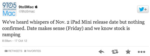 Apple sent invites for an Oct 23 event certain to deliver the 7.85-inch slab. Until now, though, the one unresolved detail has been the iPad mini ship date.