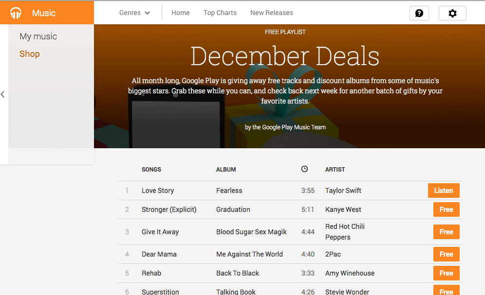 Free Google Play Music -- December Deals