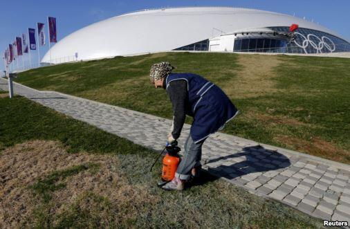 Painting the grass at Sochi